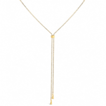 Gold Plated Lariat Slide Chain Necklace Set with Crystals Chain